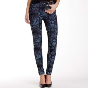 7FAM High Waist Blue Lace Floral Skinny Jeans 27